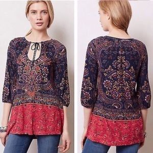Anthropologie Meadow Rue Blushed Paisley Peasant